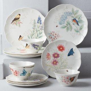 $69.99史低价:Lenox 883319 名瓷蝶舞花香之春色满园餐具套装 12件