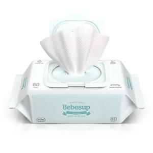 额外8.8折韩国BEBESUP 宝宝湿巾 手口湿巾 柔肤型 带盖 80抽