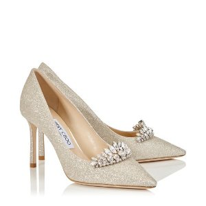 Platinum Ice Dusty Glitter Pointy Toe Pumps with Crystal Tiara | Romy 85 | CR18 | JIMMY CHOO
