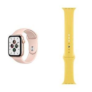 玫瑰金色 2根表带 44mmApple Watch SE (GPS, 44 mm) 智能手表