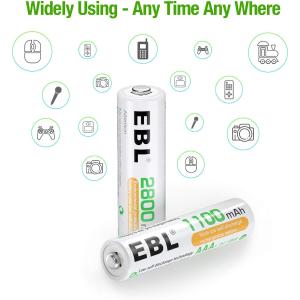 $15.29(原价$18.99) 单只$1.9EBL 镍氢充电电池4+4只装 充放电高达1200次 损耗低