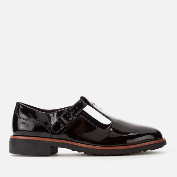 T字带漆皮鞋