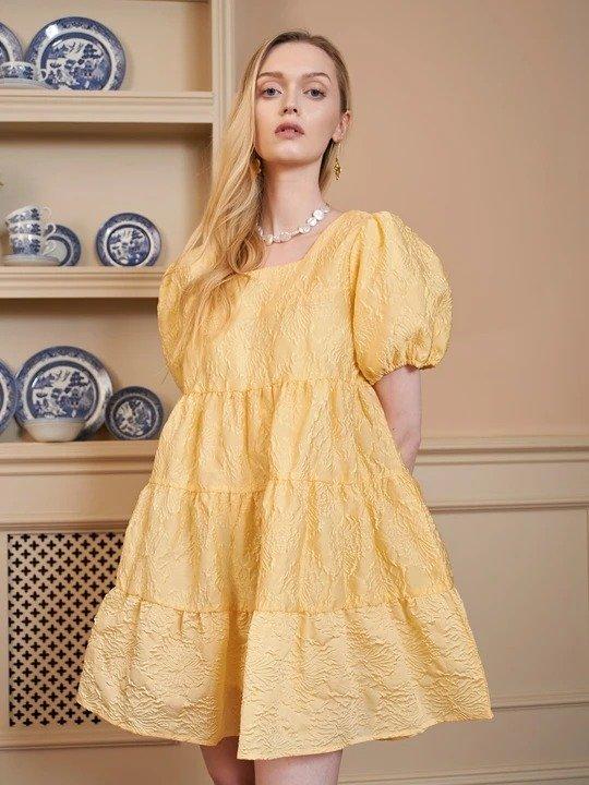 Buttercup 黄色泡泡袖连衣裙