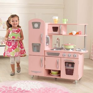 $99.88(原价$146.93)Kidkraft 儿童木质玩具小厨房,梦幻粉色