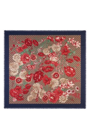 GUCCI Supreme Spring Bouquet Modal & Silk Shawl | Nordstrom