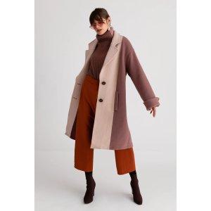 玫瑰色 Heidi 羊毛尼大衣