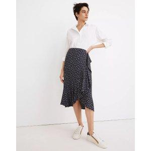 MadewellRuffle-Wrap Midi Skirt in Spring Fling