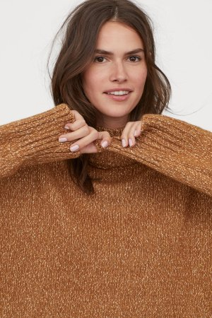 Oversized Sweater - Dark beige melange - Ladies | H&M US