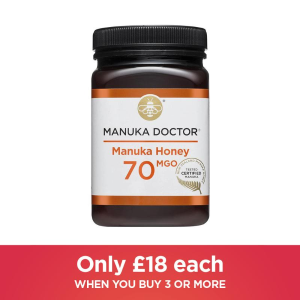 70 MGO 500g 仅£18/瓶闪购:Manuka Dr 精选蜂蜜70 MGO 三瓶连包好价