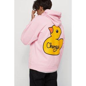 H&M粉色小黄鸭卫衣