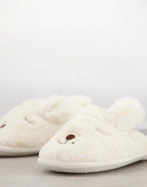 小兔子毛毛拖鞋