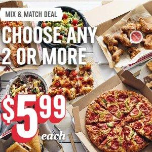 仅$5.99 派对聚餐佳选Domino's  近期3个促销活动 多款菜品任意2款以上