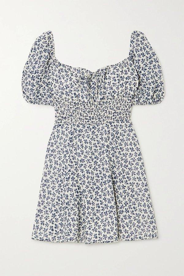 印花泡泡袖显瘦修身mini裙