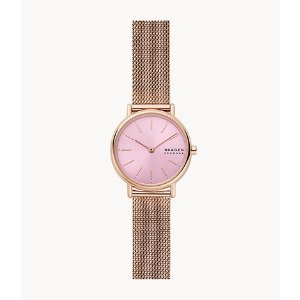 SkagenSignatur Two-Hand Rose-Tone Steel Mesh Watch
