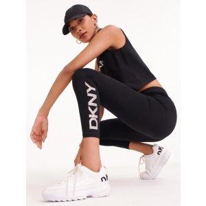 DKNY亮片logo打底裤