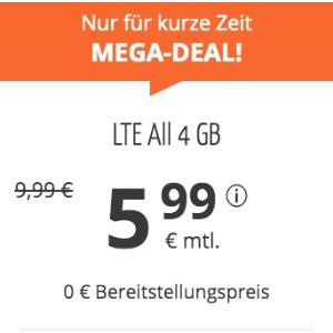 月租€5.99 免除€19.99接通费11点截止!立省€116!每月4GB包月上网+免费电话+欧盟漫游