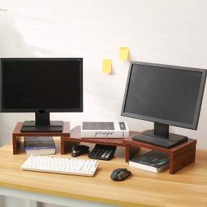 Superjare 可伸缩组合显示器抬高架 棕色 一组3个
