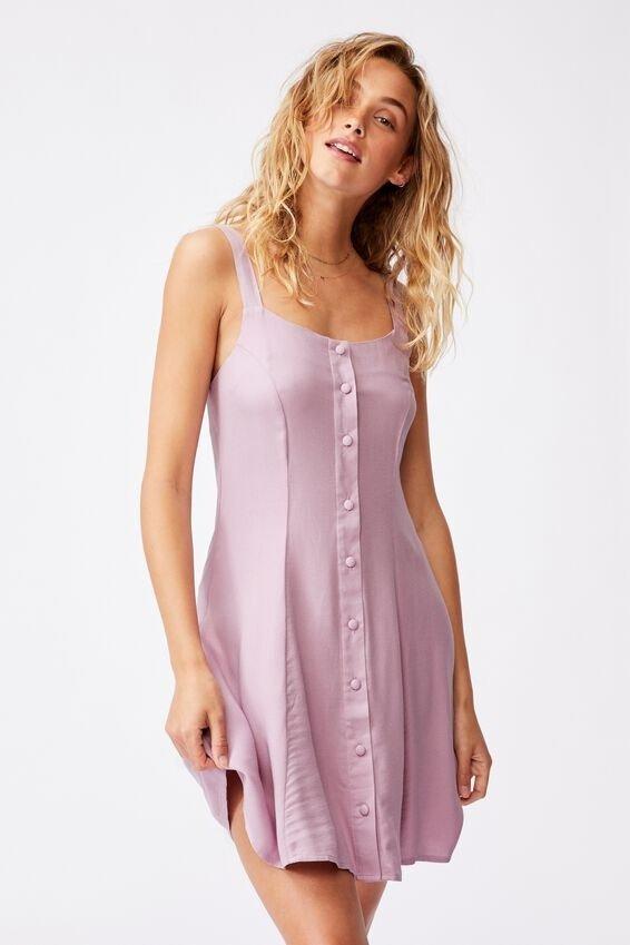 纽扣吊带连衣裙