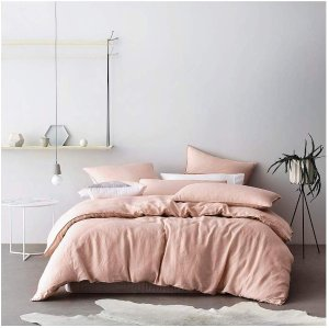Eikei Washed Cotton Chambray Duvet Cover Solid Color Casual Modern Style Bedding Set Relaxed Soft Feel Natural Wrinkled Look (King, Pastel Blush)