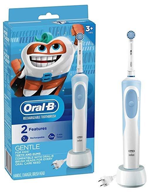 儿童电动牙刷,配刷头和定时器,适合3岁+儿童
