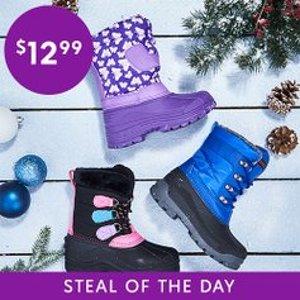 全部$12.99Zulily 儿童保暖雪地靴促销 冬季踩雪必备
