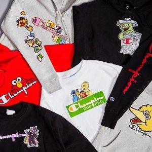 正式发售 Logo短袖€34Champion X 芝麻街 经典人物 乐趣无限 可爱上市