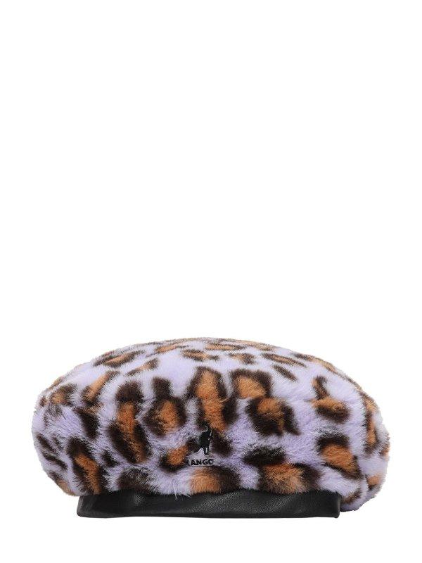 毛绒豹纹贝雷帽