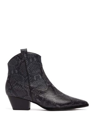 FABIO - PYTHON EMBOSSED BOOTIES | BOOTS | All Shoes | Pedder Red