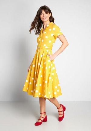 Collectif ModCloth x Collectif Cherished Past Midi Dress Yellow Polka Dot | ModCloth