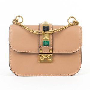17e1e46bac7c ValentinoBrown Leather  glam Lock  Small Cross-Body Shoulder Bag