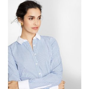 Brooks BrothersPetite Non-Iron Tailored-Fit Striped Cotton Dobby Shirt - Brooks Brothers