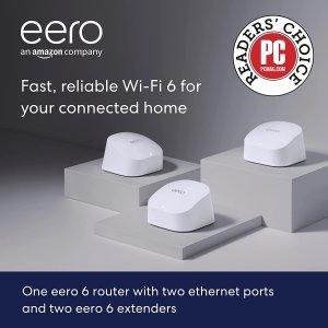 开抢:Eero 6 dual-band mesh Wi-Fi 6 路由器 + 2个放大器