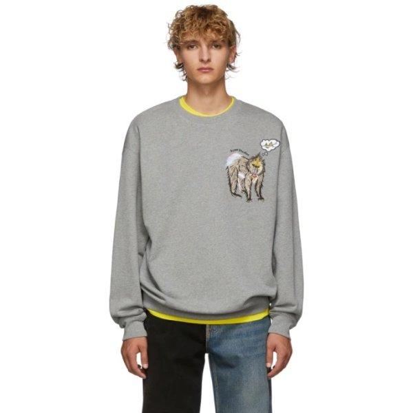 Grey Melange Forba Animal-Embroidered卫衣