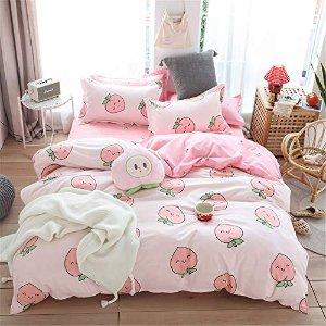 低至5.5折 €10.99收封面桃子3件套Meiju 高颜值床品热促 柔软舒适亲肤 打造ins风少女感温馨卧室