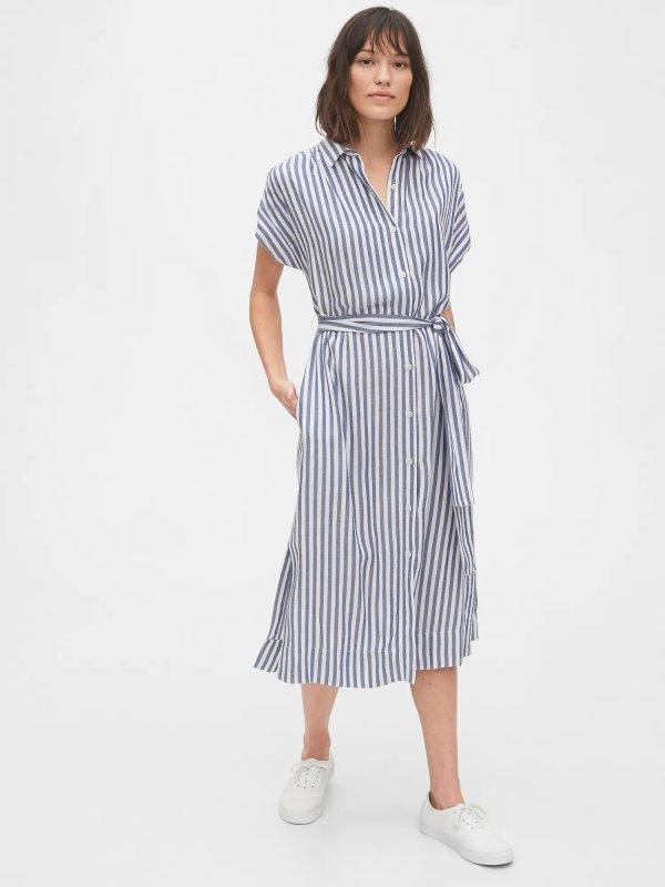 条纹衬衫裙 XS码