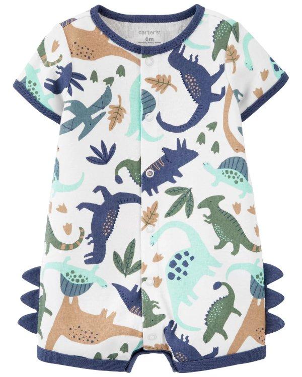 婴儿恐龙连体短爬服