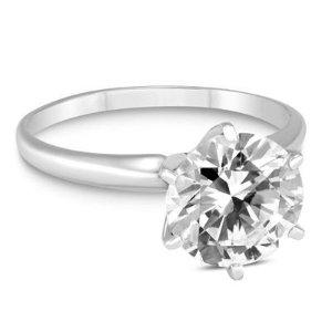 买就送钻石项链独家:1克拉14K白金钻戒 (G-H COLOR, SI1-SI2 CLARITY)特价热卖