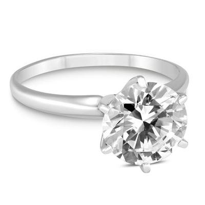 优质1 克拉14K白金钻石戒指(G-H Color, SI1-SI2 Clarity)