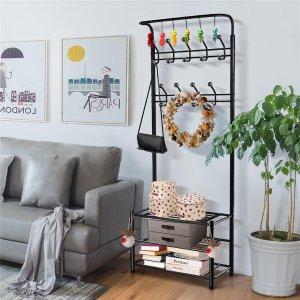Smilemart Multipurpose Metal Entryway Hall Tree With 3-Tier Shoe Rack, Black