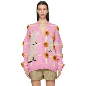 LoeweAnthea Hamilton限定款花朵羊毛针织开衫