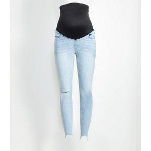 LOFTMaternity High Rise Chewed Hem Skinny Jeans in Classic Light Indigo Wash   LOFT