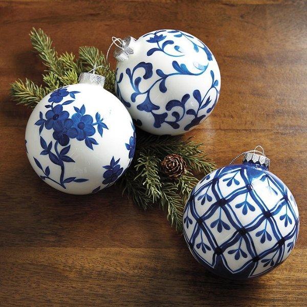 Chinoiserie 圣诞树挂球3件套