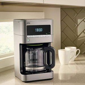 $99.99(原价$129.99)史低价:Braun博朗 12杯量滴滤式不锈钢咖啡机 可编程 KF7170S