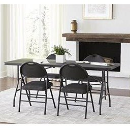 $42Cosco Deluxe 6 foot x 30 inch Fold-in-Half Blow Molded Folding Table, Black