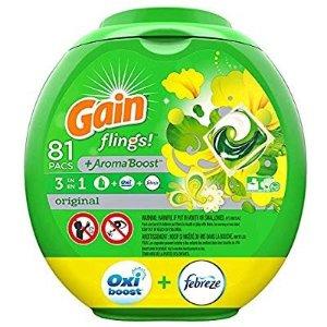 $14.62Gain Flings 3合1强力去污除味洗衣凝珠 81个