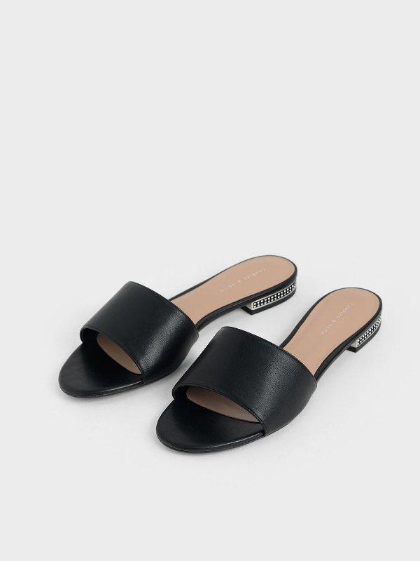 碎钻跟穆勒凉鞋