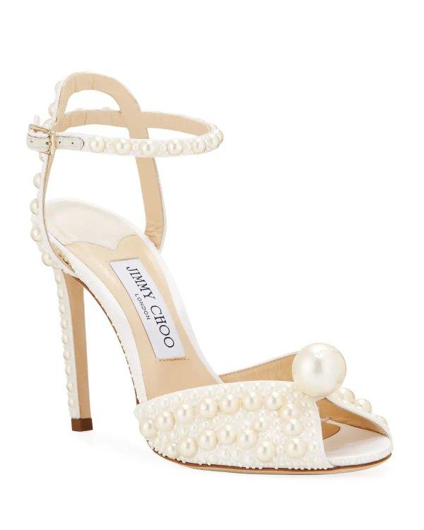 珍珠优雅高跟鞋