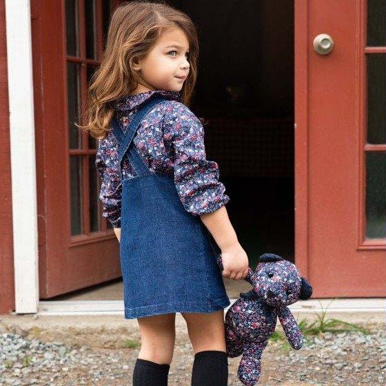 儿童牛仔背带裙