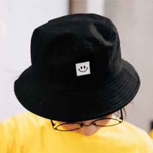 $8.99(原价$10.99)IUAQDP 黑色纯棉笑脸渔夫帽 可折叠收纳 随时随地戴出门
