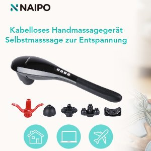 售价€39.99 全身都能用Naipo 无线手持敲击按摩器 5个替换按摩头 放松肌肉神器